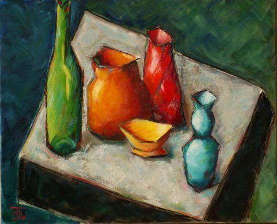 Vases et bouteille  sur carré gris 20F  12 08 Etat final.jpg