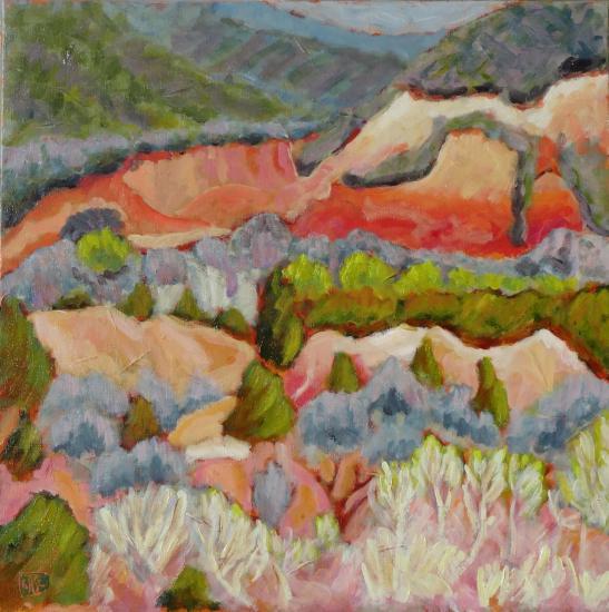 Colorado au printemps au pinceau rond n 1 60x60 acryl