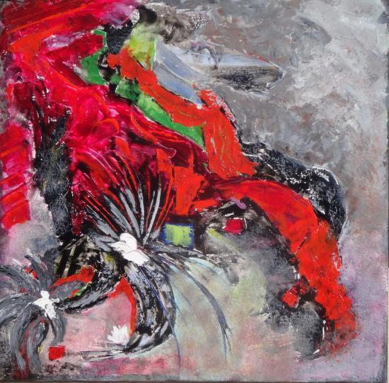 Composition n 2 en rouge et noir 80x80 12 2017 acryl
