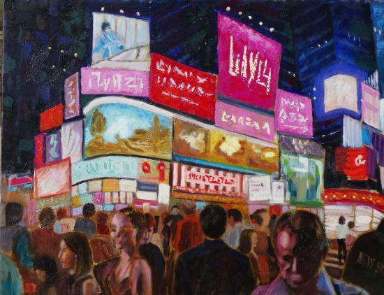 New york les illuminations a time square 2 100x80 huile 04 2016